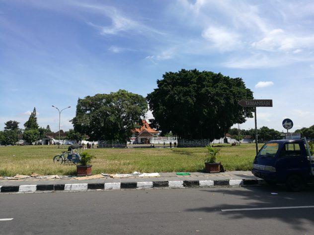 Park vor dem Sultanpalace - täglich ab ca. 14:00 kann man versuchen mit verbundenen Augen durch die zwei Bäume zu gehen, wer es schafft, darf sich etwas Wünschen