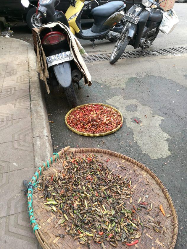 Chilli wird direkt daneben auf der Straße getrocknet